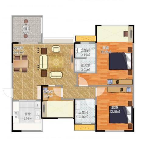 宝龙城市广场2室2厅3卫1厨112.00㎡户型图
