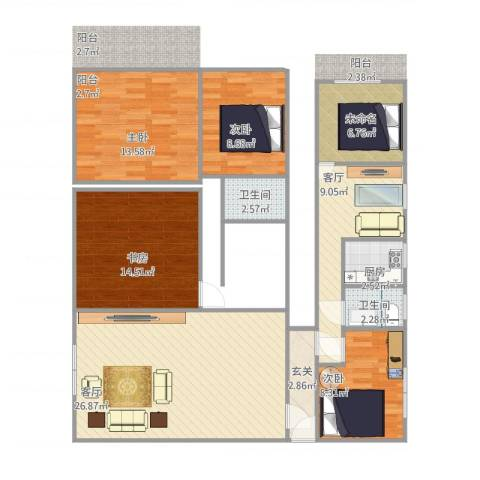 古龙居住公园4室2厅2卫1厨133.00㎡户型图