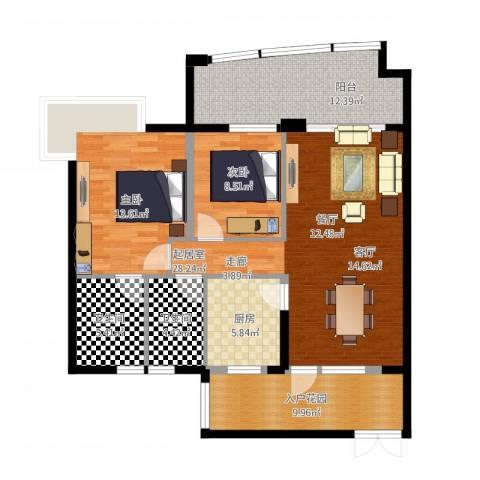 雅居乐国际花园二期2室1厅2卫1厨125.00㎡户型图