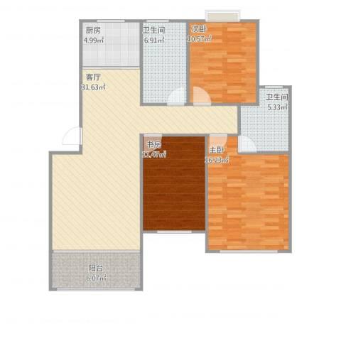 学府壹号3室1厅2卫1厨108.00㎡户型图