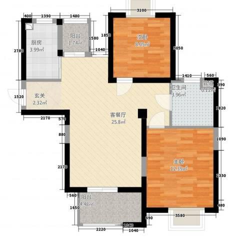 馨座2室1厅1卫1厨87.00㎡户型图