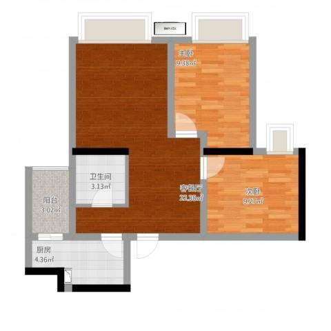 望龙东郡2室1厅1卫1厨76.00㎡户型图