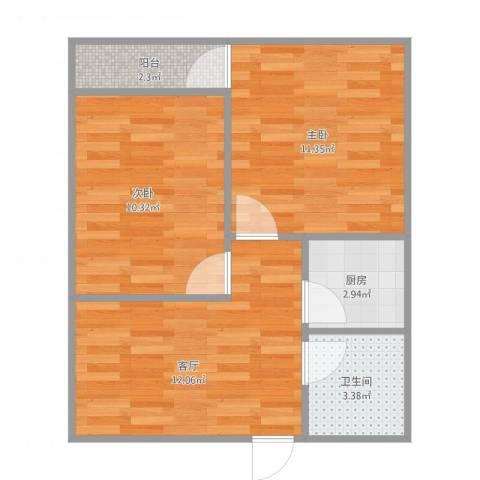宝华新区2室1厅1卫1厨58.00㎡户型图