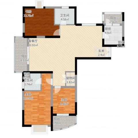 信政天鹅湾3室1厅2卫1厨153.00㎡户型图