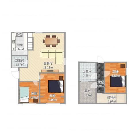 华隆新寓3室1厅2卫1厨77.00㎡户型图