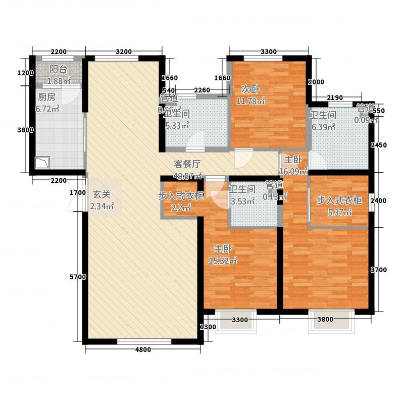 融创王府壹�178.30㎡三期高层5号楼标准层N户型3室2厅3卫1厨