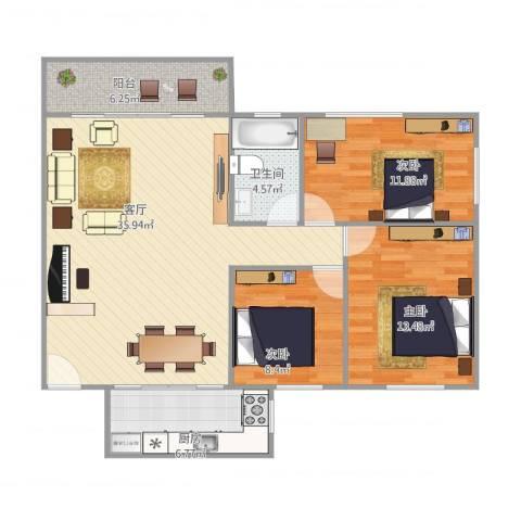 汇禾新城3室1厅1卫1厨117.00㎡户型图