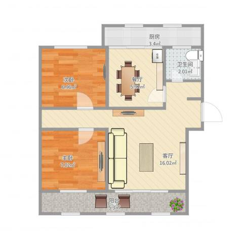无影山新村2室2厅1卫1厨65.00㎡户型图