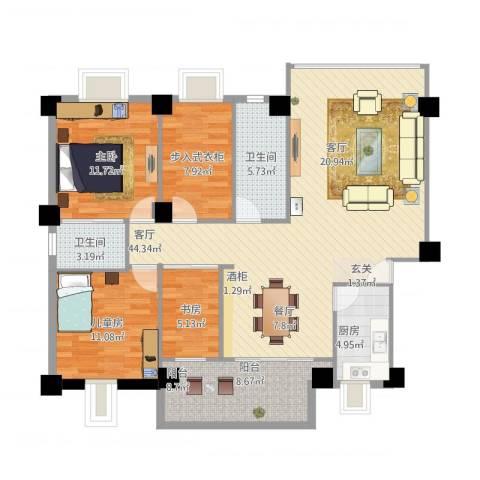 新华苑一期(内部)3室1厅2卫1厨143.00㎡户型图