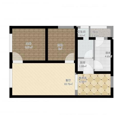 高新大都荟2室1厅1卫2厨81.00㎡户型图