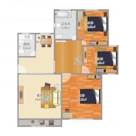 心圆东苑3室2厅1卫1厨124.00㎡户型图