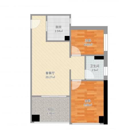 东凤万科金色家园2期04户型2室1厅1卫1厨70.00㎡户型图