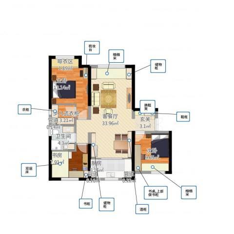 华远海蓝城3室1厅4卫1厨111.00㎡户型图