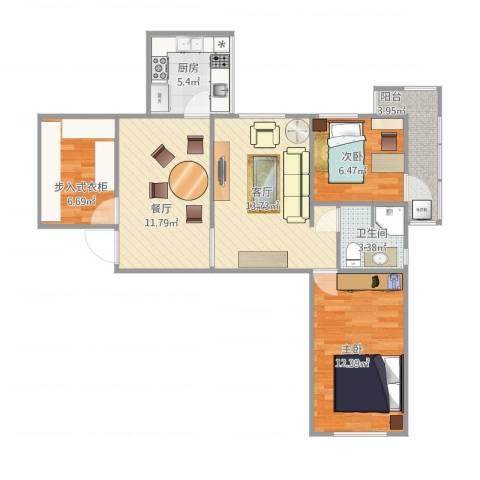 工体西里14012室2厅1卫1厨87.00㎡户型图
