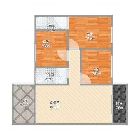 嘉怡花园3室1厅2卫1厨68.00㎡户型图