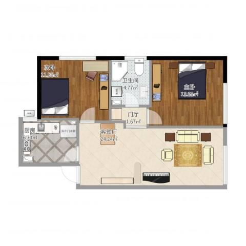 东亚・五环国际2室1厅1卫1厨88.00㎡户型图