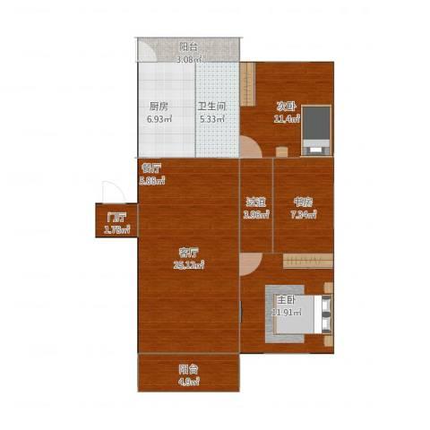 建德花园百合苑3室1厅1卫1厨103.00㎡户型图