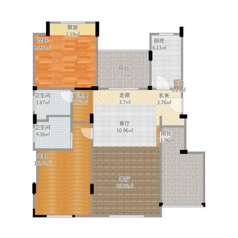 浦发御园2室1厅2卫1厨141.00㎡户型图