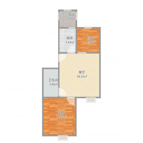 风和日丽2室1厅1卫1厨58.00㎡户型图