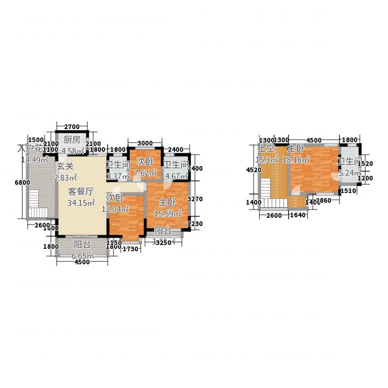 绿谷康都165.27㎡B跃层户型4室2厅3卫