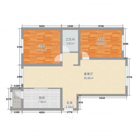 汉森华尔兹2室1厅1卫1厨110.00㎡户型图