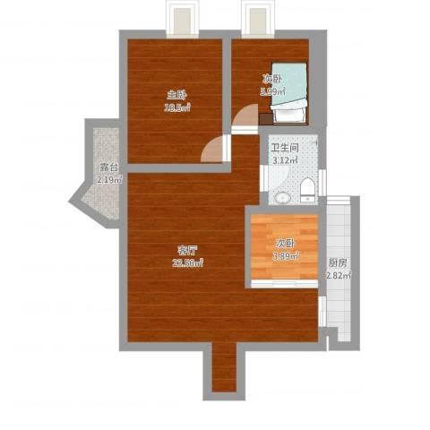 华丽花园3室1厅1卫1厨79.00㎡户型图