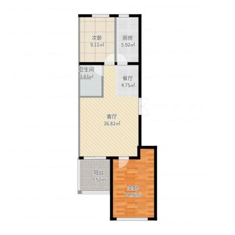 和利水岸名都2室1厅1卫1厨73.39㎡户型图