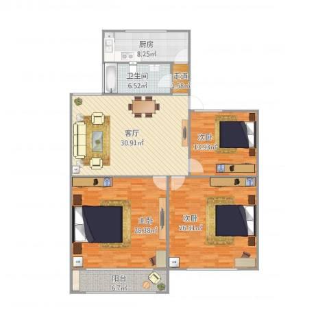 黄山二村459弄3室1厅1卫1厨162.00㎡户型图