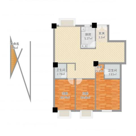 泛华盛世3室1厅2卫1厨128.00㎡户型图