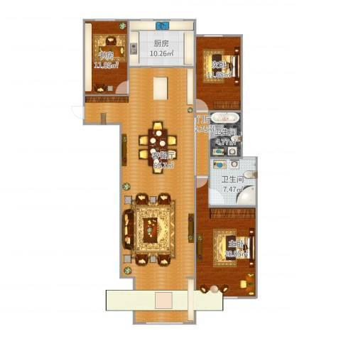 万国公馆3室1厅2卫1厨177.00㎡户型图