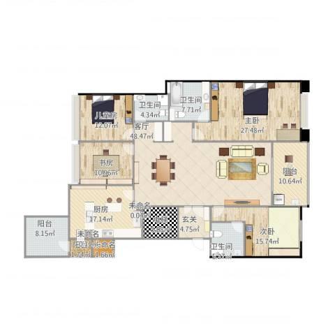 九龙仓时代上城二期繁华里4室1厅3卫1厨243.00㎡户型图