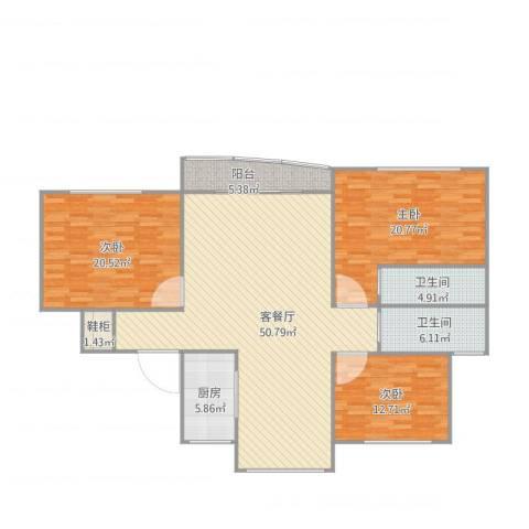 绿洲康城亲水湾137平3室1厅2卫1厨171.00㎡户型图