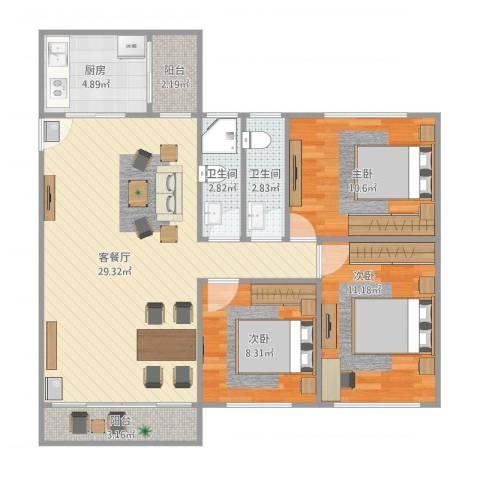 中信美景康城3房94平米3室1厅2卫1厨81.76㎡户型图
