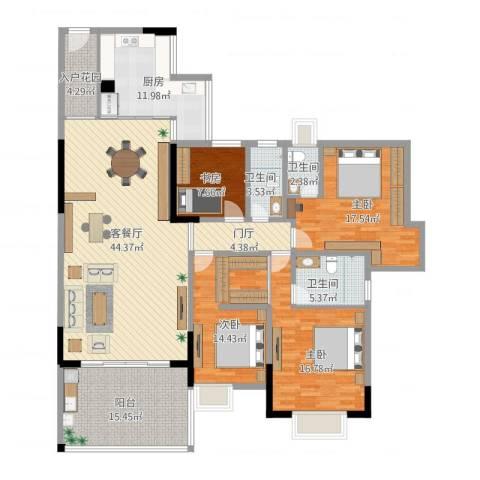 华英城三期4室1厅3卫1厨209.00㎡户型图