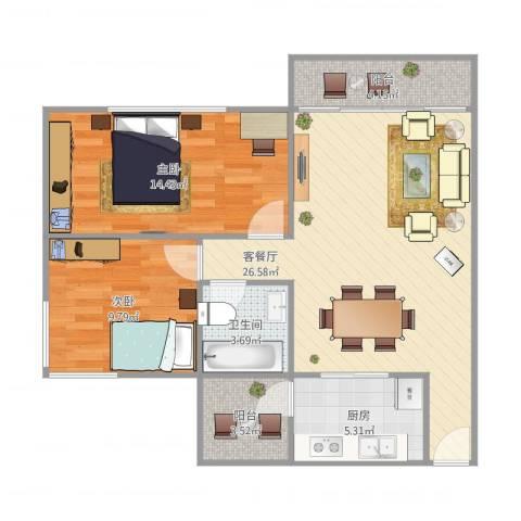 中信美景康城80平米01户型2室1厅1卫1厨73.00㎡户型图