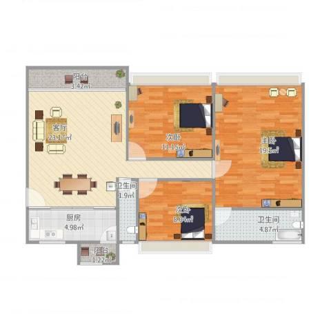 朗晴轩3室1厅2卫1厨106.00㎡户型图