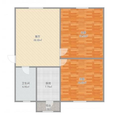 青吉里2室1厅1卫1厨110.00㎡户型图