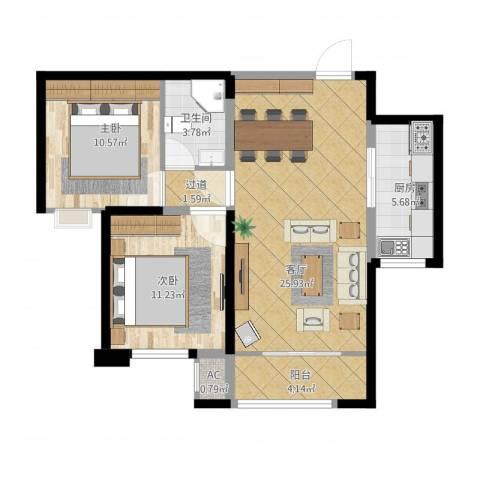 中海外滩2室1厅2卫2厨91.00㎡户型图