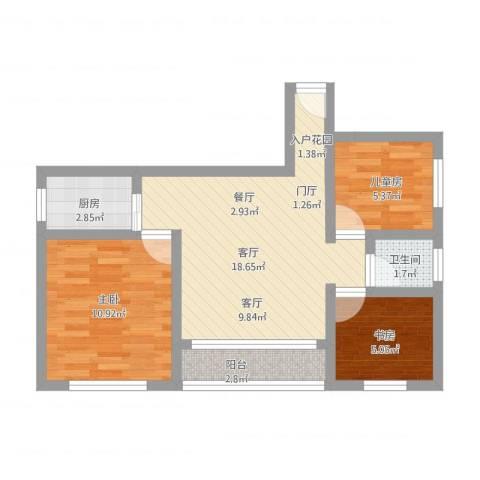 公明永兴街西3室1厅1卫1厨71.00㎡户型图