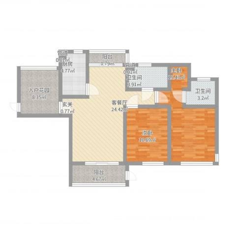 雅戈尔潇邦2室1厅2卫1厨115.00㎡户型图