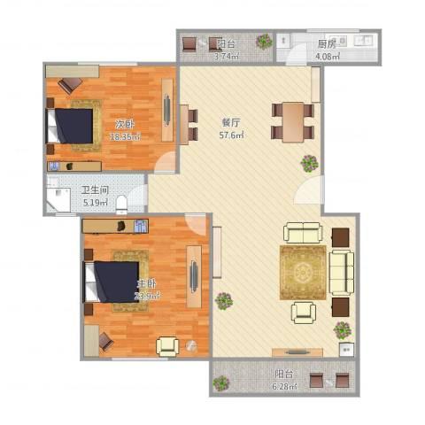 上泰雅苑2室1厅1卫1厨158.00㎡户型图