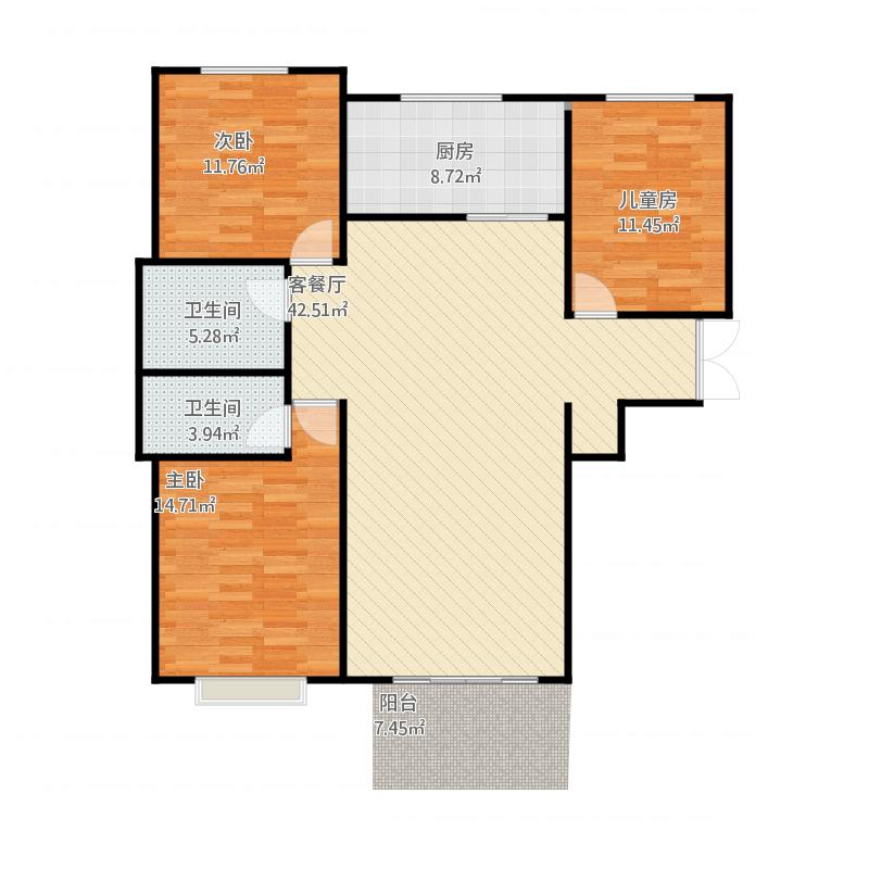 七里新城129㎡三室两厅两卫