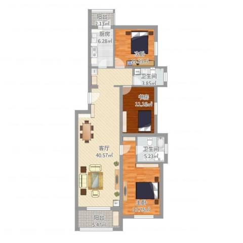 龙锦苑东三区3室1厅2卫1厨148.00㎡户型图