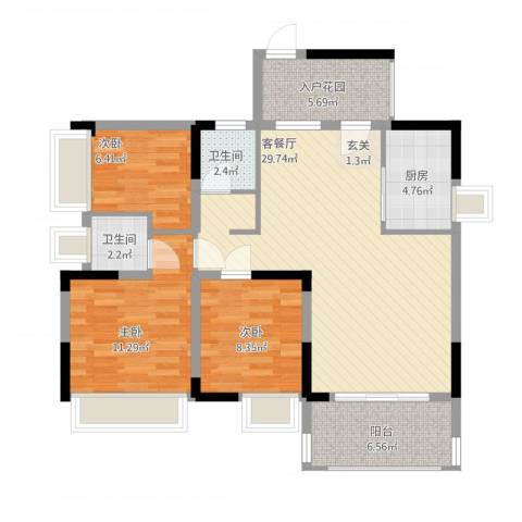 红棉雅苑3室1厅2卫1厨111.00㎡户型图