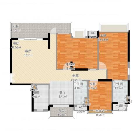 明景・江南世家3室1厅9卫1厨168.00㎡户型图
