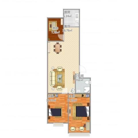 德胜凯旋花园3室1厅1卫1厨111.00㎡户型图