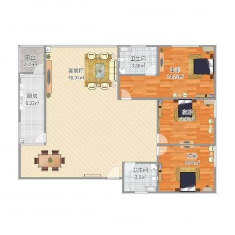金湖花园14号楼3室1厅2卫1厨105.00㎡户型图