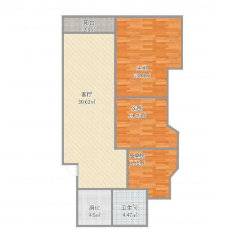 岭南公寓3室1厅1卫1厨105.00㎡户型图
