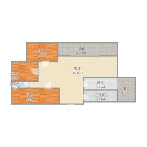 御祥豪庭3室1厅2卫1厨100.00㎡户型图