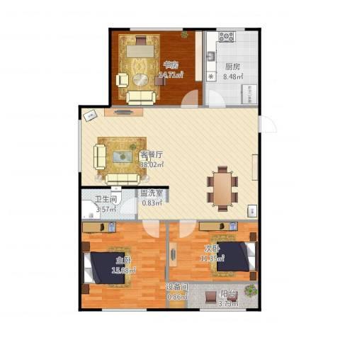 春江花月B区3室1厅1卫1厨129.00㎡户型图